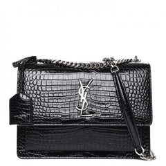 CALKSKIN CROCODILE EMBOSSED SUNSET BAG