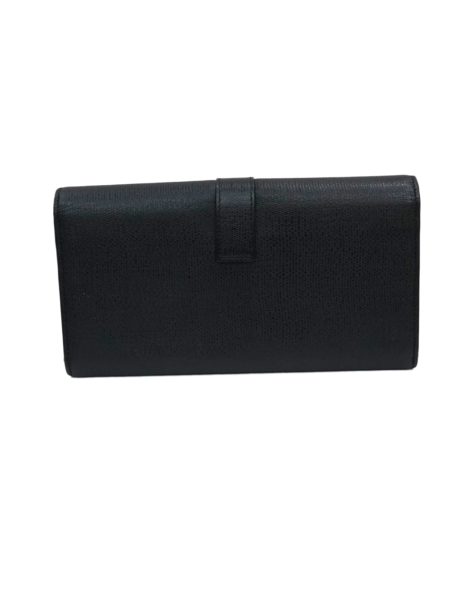 BLACK LEATHER Y LINE CONTINENTAL WALLET