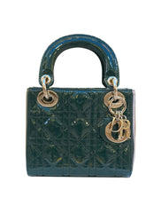GREEN PATENT LEATHER MINI LADYDIOR BAG