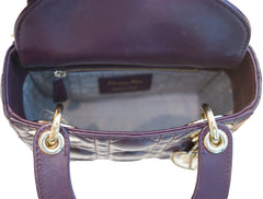 PLUM LAMBSKIN LEATHER LADYDIOR BAG