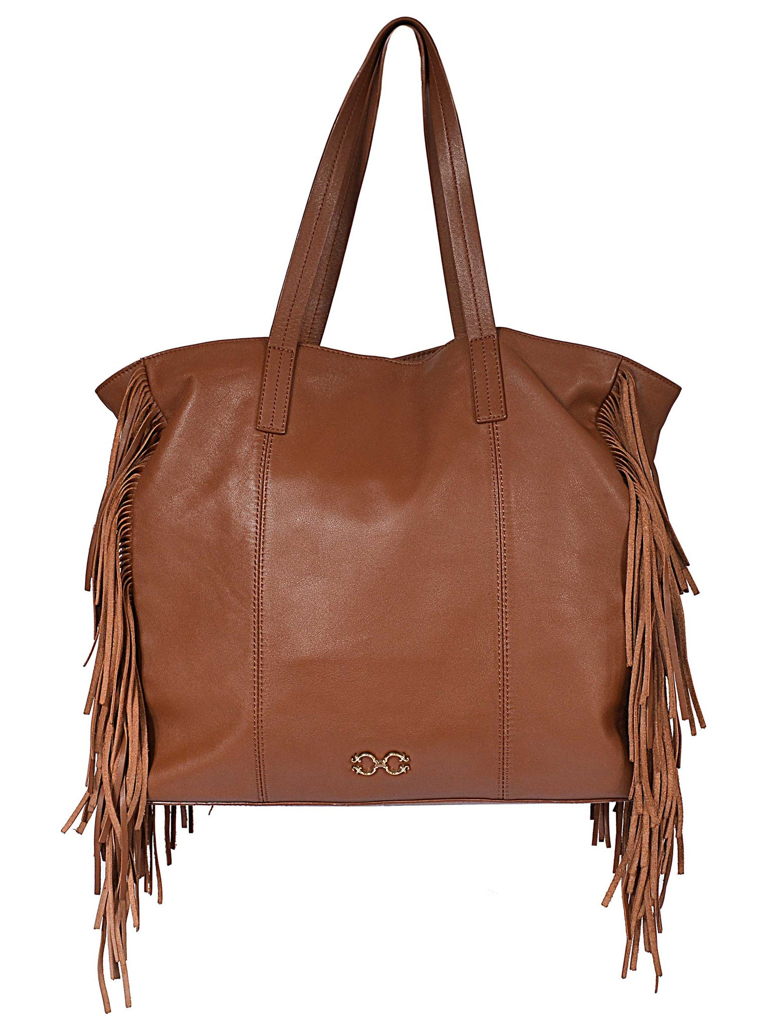 LARGE LEATHER SHOULDER BAG WITH TASSEL