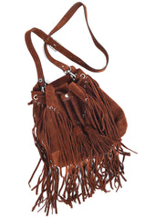 SUED SHOULDER ADULA FRINGED BAG