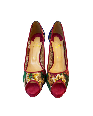 SUEDE LACE MULTI COLOUR PUMPS 39 (RESERVED)