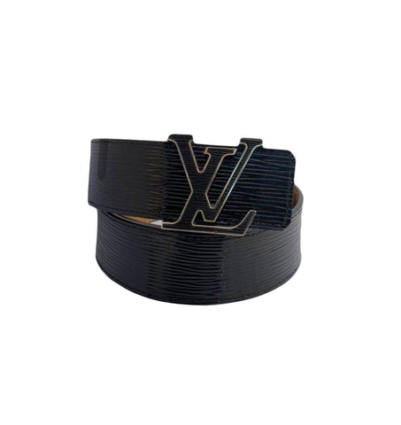 BLACK EPI ELECTRIC LEATHER LV INITIALS BUCKLE BELT