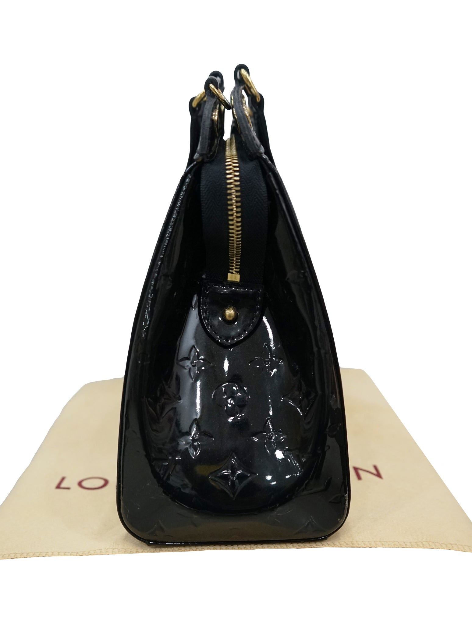 BLACK VERNIS MONOGRAM MM BREA BAG