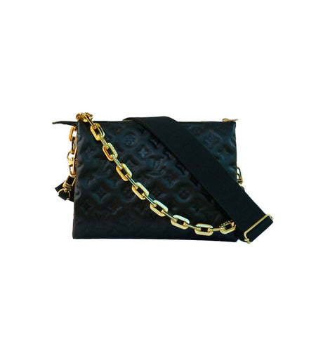 BLACK MONOGRAM EMBOSSED PUFFY LAMBSKIN PM COUSSIN BAG
