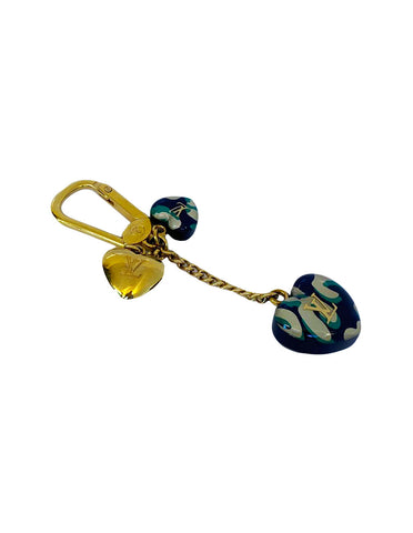 BLUE LEOPARD HEART CHARM AND KEY HOLDER