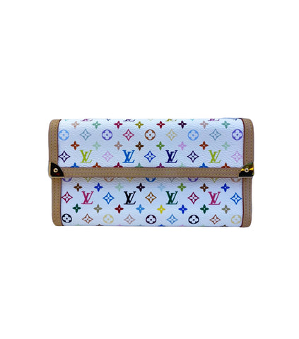 WHITE MULTICOLOR MONOGRAM CANVAS PORTE TRESOR INTERNATIONAL WALLET