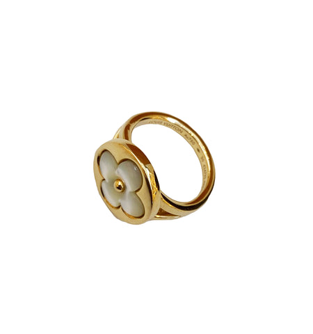 SUN BLOSSOM MOTHER OF PEARL GOLD RING