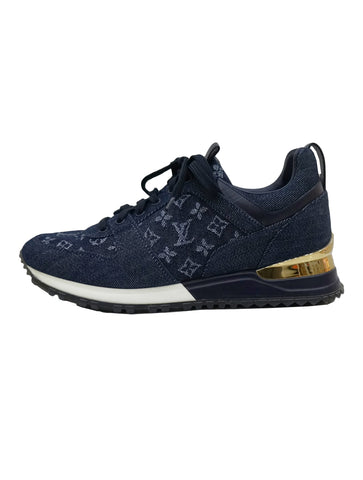 NAVY DENIM MONOGRAM SNEAKERS