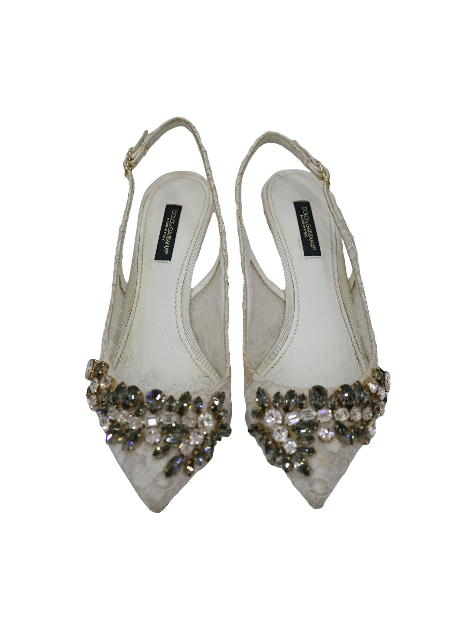 EMBELLISHED LACE POINTED TOE SANDALS