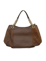 BROWN EMBOSSED LEATHER CHAIN BAG