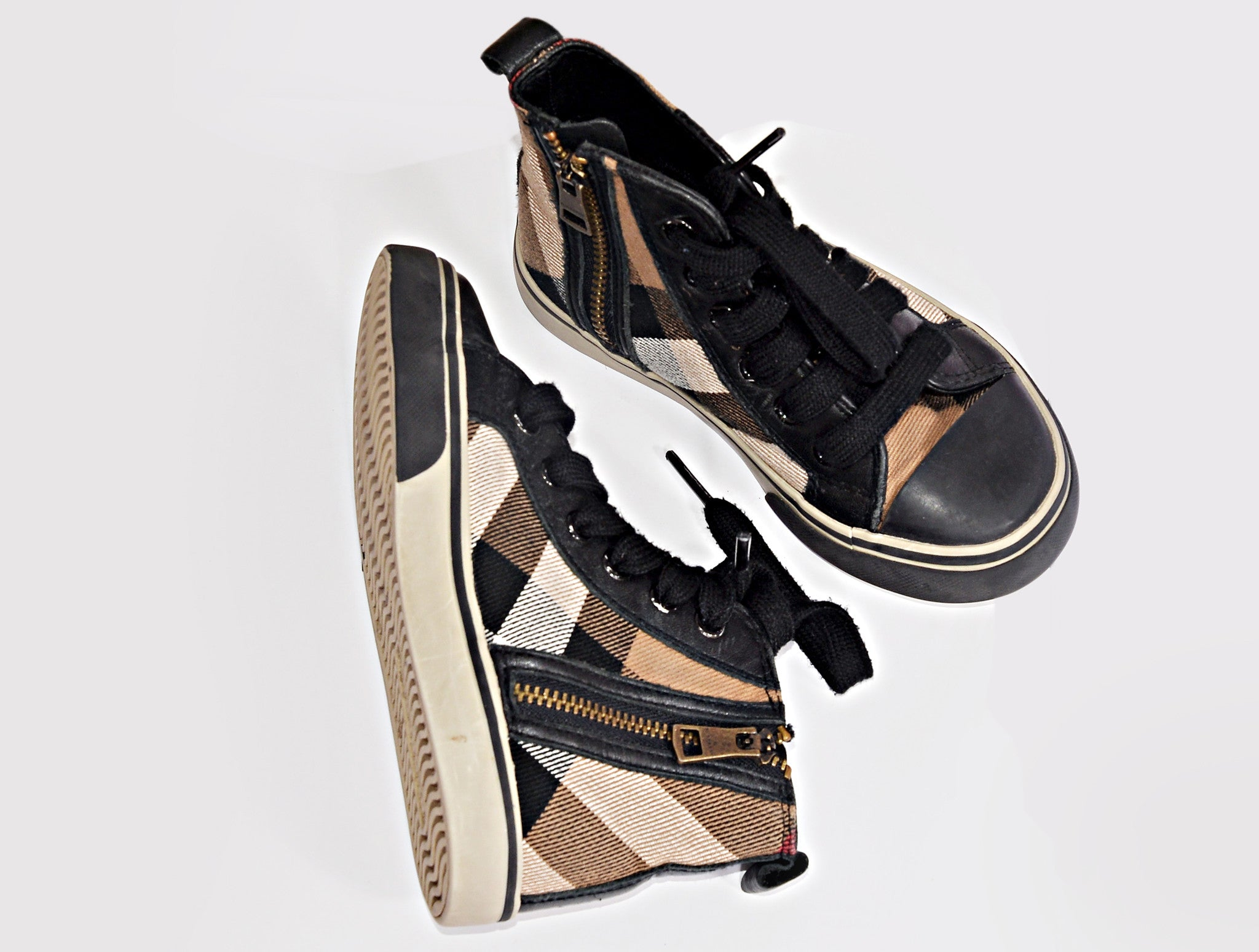 CHECK HIGH TOPS SHOES - kidsstyleforless