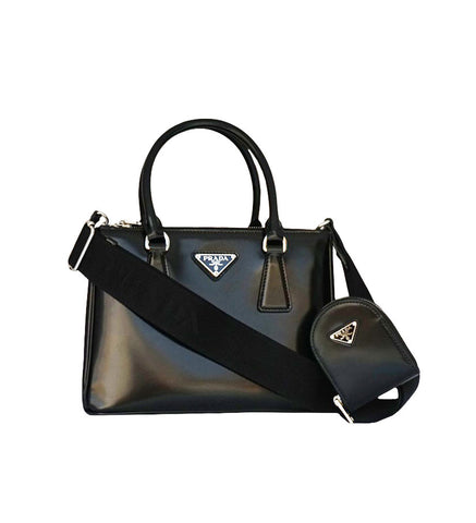 BLACK BRUSHED LEATHER GALLERIA BAG