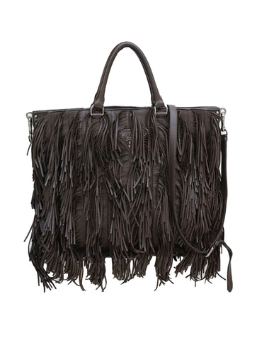 DARK BROWN LEATHER FRINGE TOTE BAG