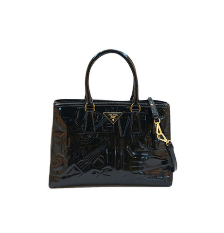EMBOSSED BLACK SPAZZOLATO LUXE TOTE BAG