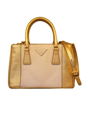 BICOLOR SAFFIANO LEATHER GALLERIA BAG