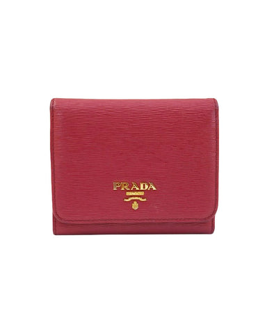 PINK SAFFIANO LEATHER TRIFOLD WALLET