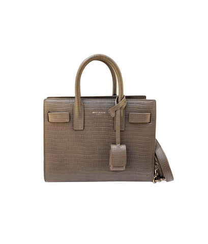GREY CROC EMBOSSED LEATHER NANO CLASSIC SAC DE JOUR TOTE BAG