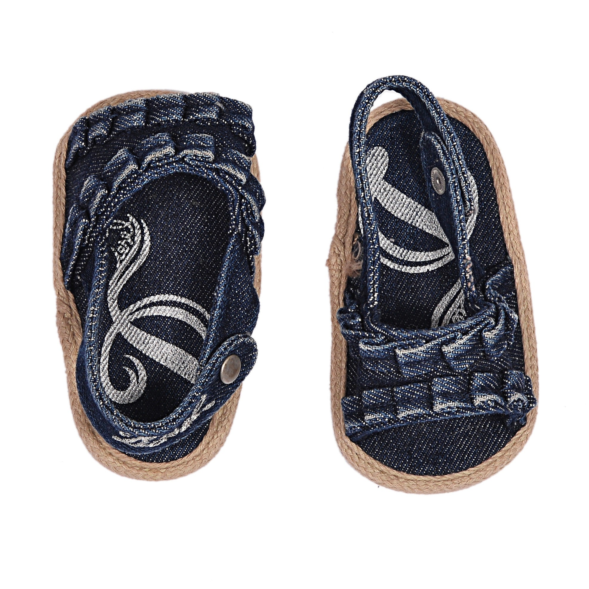 PON PON DENIM OPEN TOE LOGO SANDALS