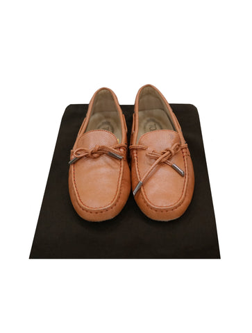 LIGHT ORANGE LEATHER BOW LOAFERS SHOES