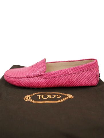 PINK PYTHON EMBOSSED LEATHER PENNY LOAFER SHOES