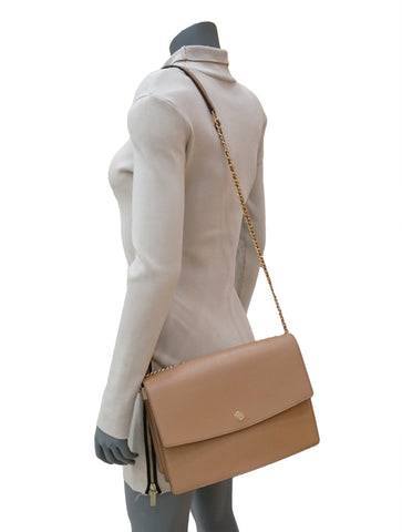 BEIGE LEATHER FLAP SHOULDER BAG