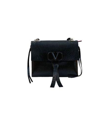 BLACK LEATHER VRING MEDIUM SHOULDER BAG