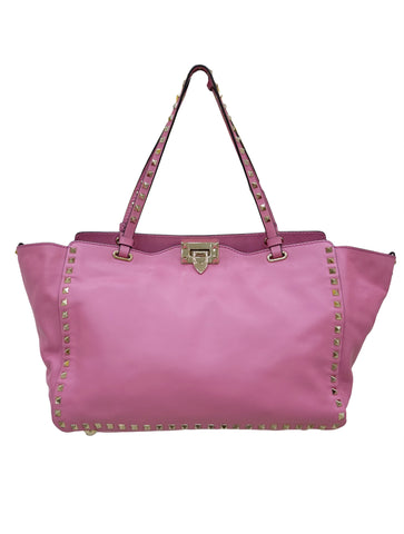 PINK LEATHER ROCKSTUD TOTE BAG