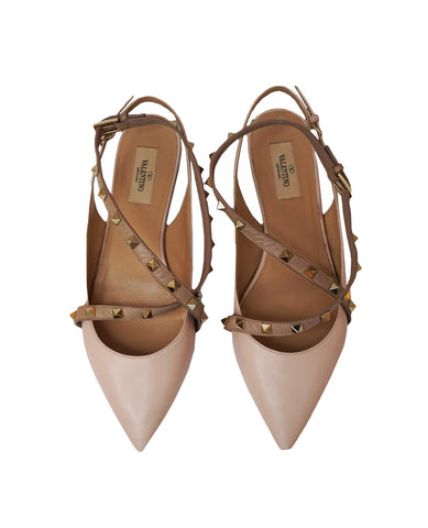 LIGHT PINK LEATHER ROCKSTUD SLINGBACK BALLERINA FLATS