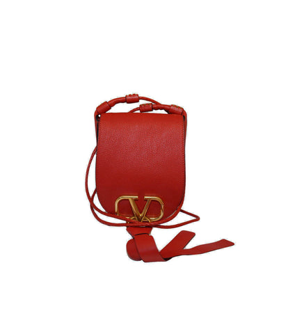 RED SMALL V RING LEATHER SADDLE BAG