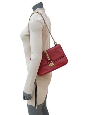 RED LEATHER GLAM LOCK FLAP BAG
