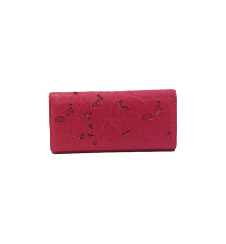 MAGENTA EMBROIDERED FLORAL FLAP WALLET