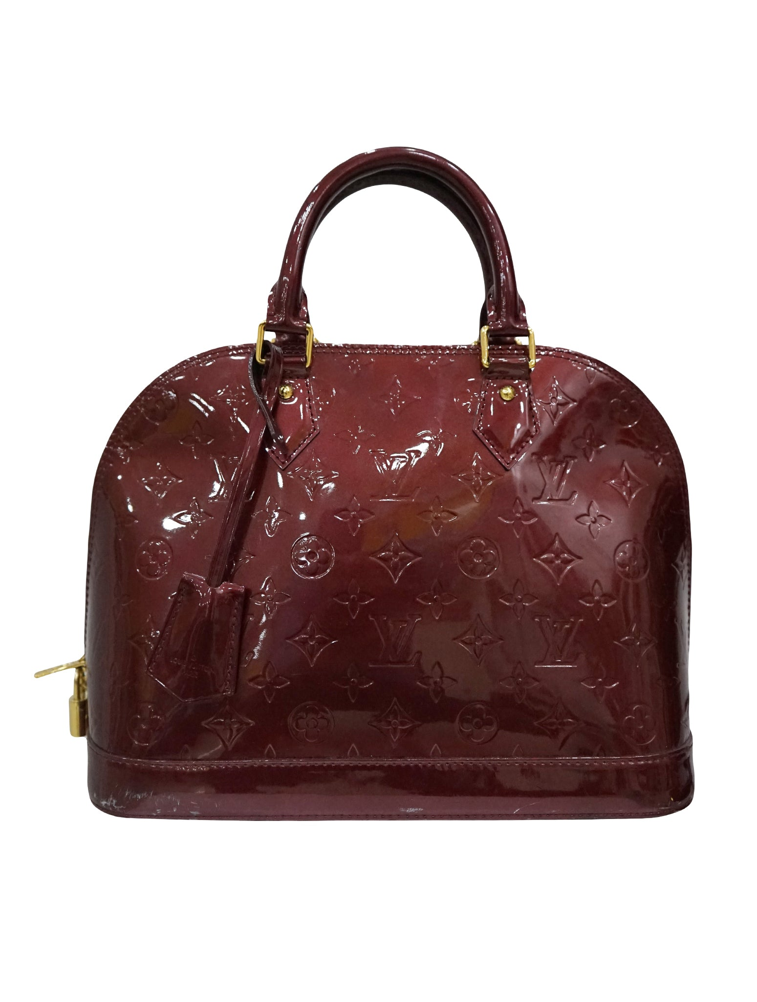 AMARANTE MONOGRAM VERNIS LEATHER ALMA MM BAG