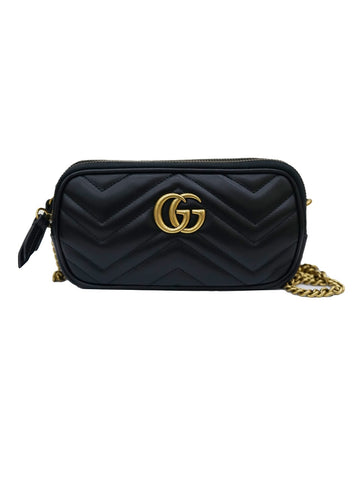 BLACK LEATHER MINI GG MARMONT CHAIN SHOULDER BAG
