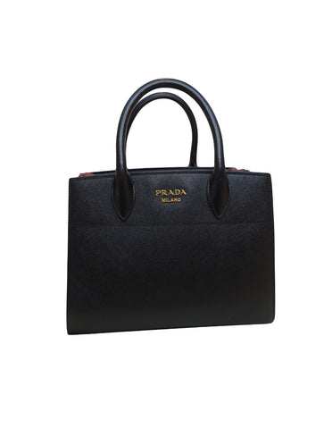 BICOLOR BLACK/RED BIBLIOTHEQUE TOTE BAG