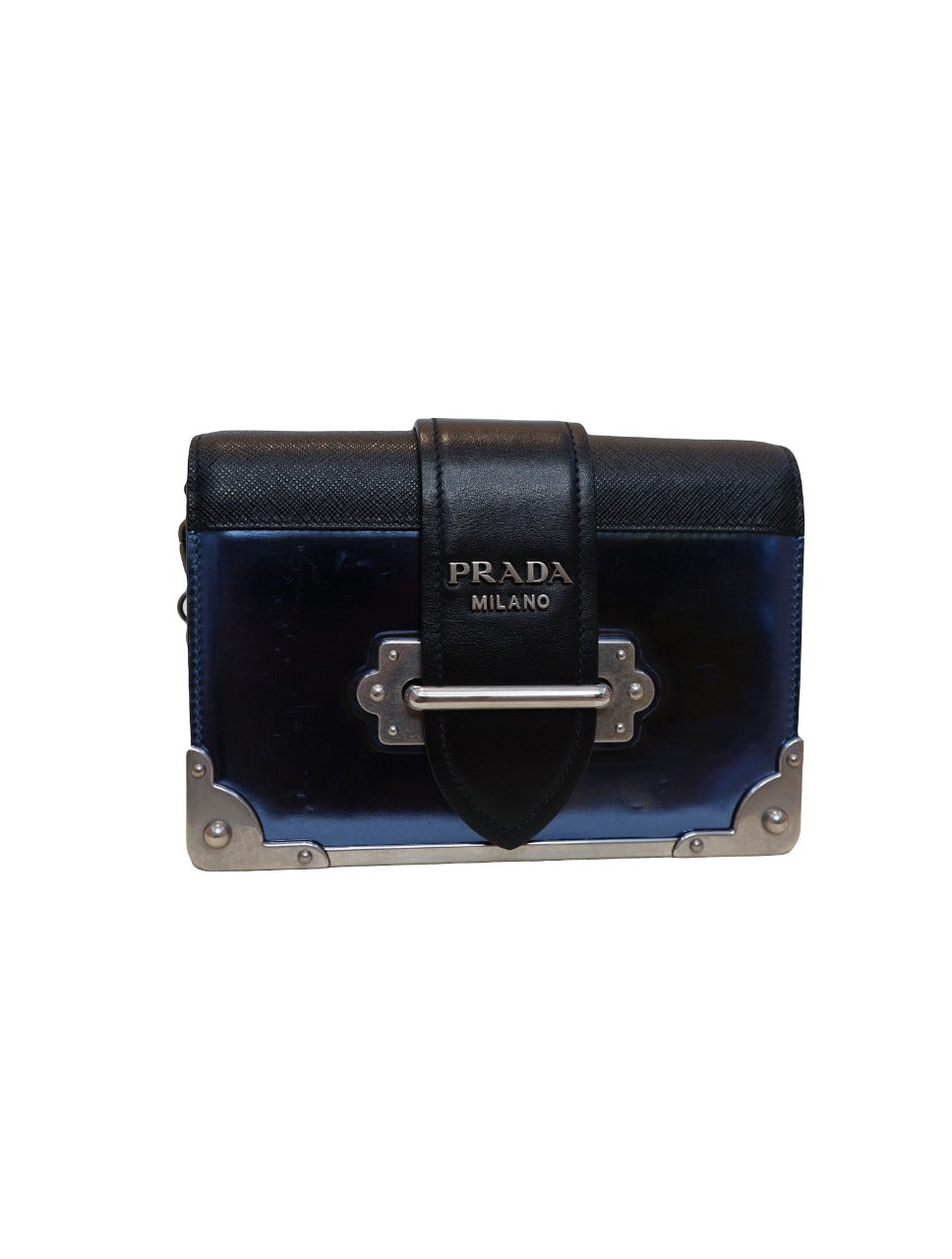 BLACK AND BLUE CALFSKIN & PATENT LEATHER CAHIER BAG