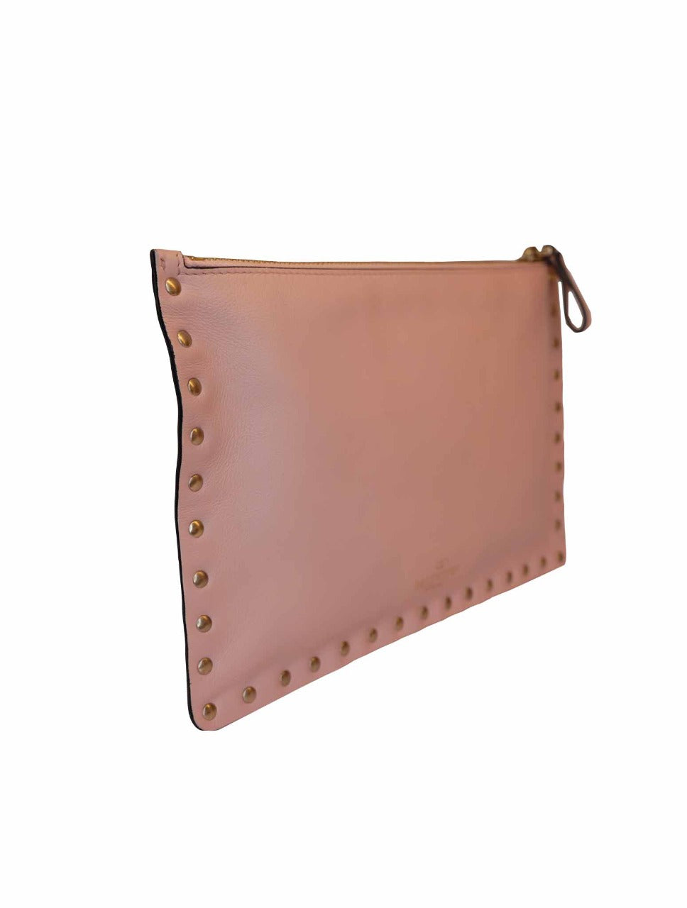 PINK LEATHER ROCKSTUD POUCH