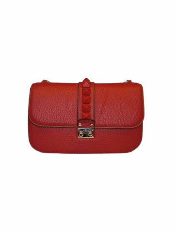 GLAM LOCK RED LEATHER HAND MEDIUM BAG