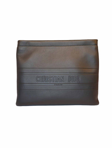 BLACK CALFSKIN LEATHER POUCH