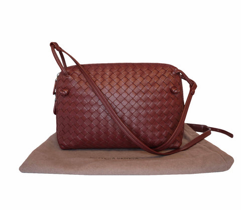 MAROON NODINI INTRECCIATO LEATHER CROSSBODY BAG