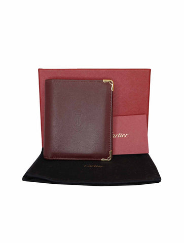 BURGUNDY LEATHER MUST DE CARTIER BI-FOLD WALLET
