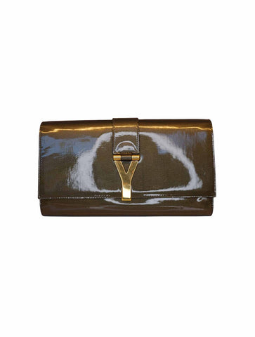 OLIVE TEXTURED PATENT LEATHER CLASSIC Y LIGNE CLUTCH