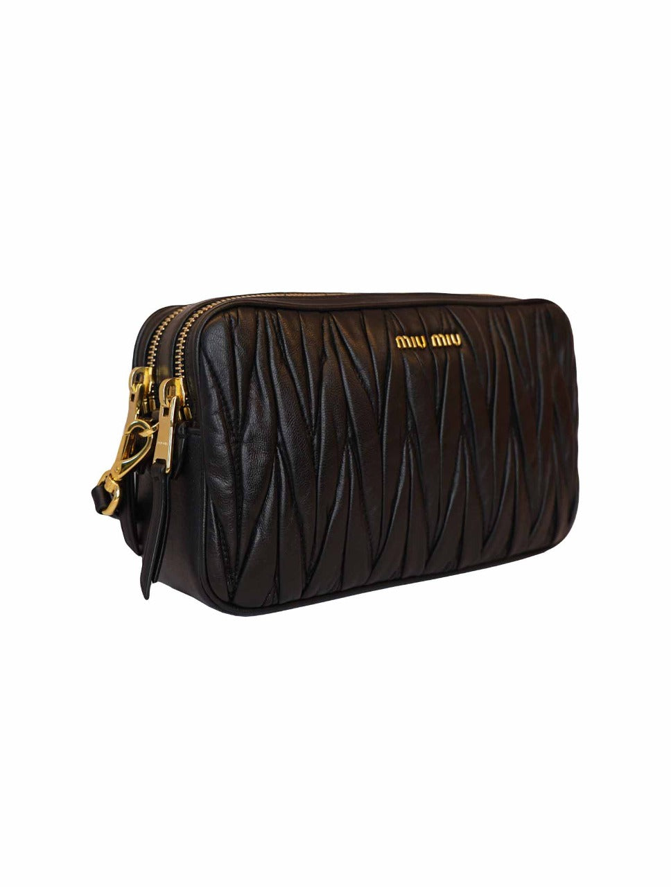 BLACK MATELASSE NAPPA LEATHER DOUBLE ZIPPER CROSSBODY BAG