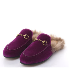 VELVET FUR WOMENS PRINCETOWN SLIPPERS