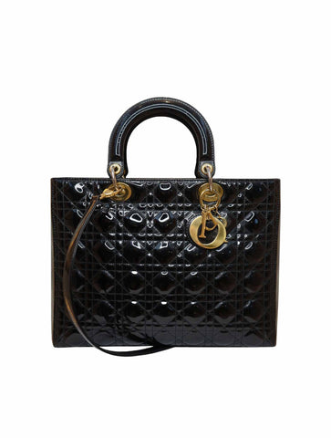 BLACK PATENT LEATHER LARGE LADY DIOR BAG