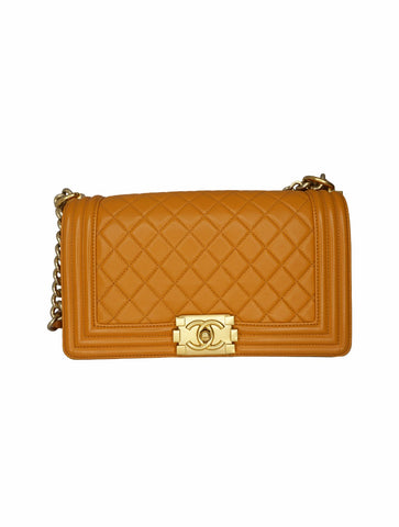ORANGE QUILTED LEATHER MEDIUM FLAP BOY BAG