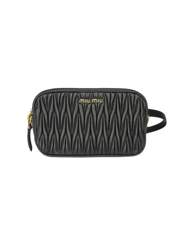 BLACK MATELASSE LATHAER BELT BAG