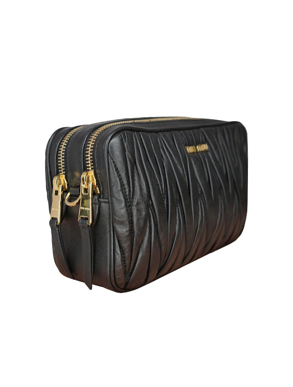 BLACK MATELASSE LEATHER DOUBLE ZIP CAMERA BAG