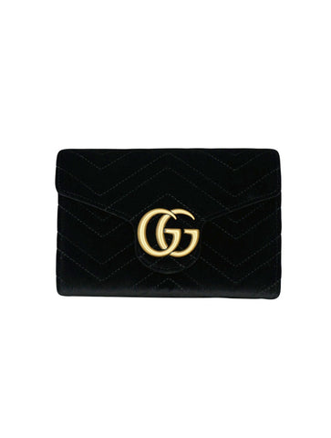 BLACK VELVET WALLET ON CHAIN MINI SHOULDER BAG